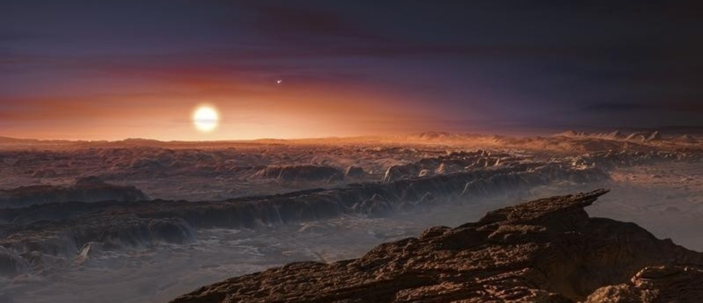 A view of the surface of the planet Proxima b orbiting the red dwarf star Proxima Centauri, the closest star to our Solar System, is seen in an undated artist's impression released by the European Southern Observatory August 24, 2016