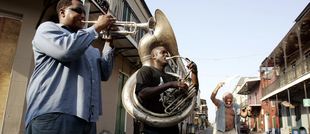 City on song … musicians in New Orleans.
