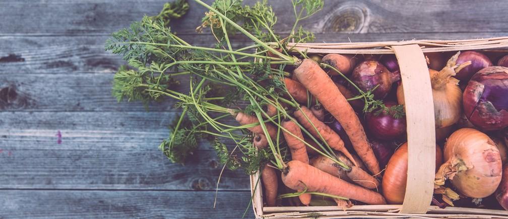 Organic veg on a table.