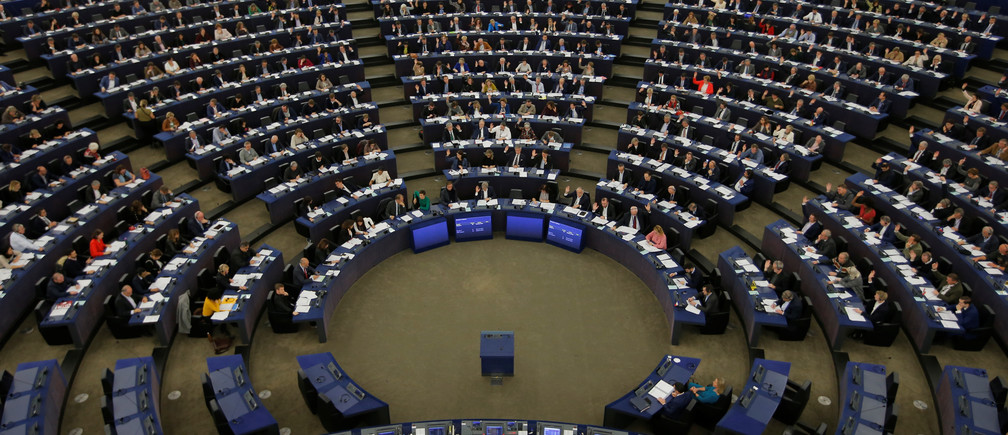 "Members of the European Parliament take part in a voting session in Strasbourg, France, November 28, 2019. MEP's voted on thursday on a ""climate emergency"" resolution ahead of a United Nations climate conference in Madrid and on the European Parliament stance for the UN COP25 climate conference.    REUTERS/Vincent Kessler - RC2BKD9LNMNG"