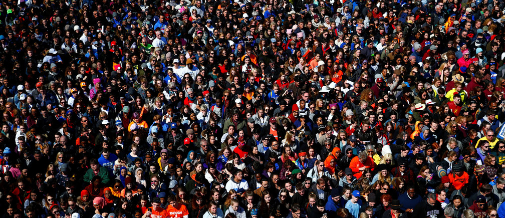 "Attendees are seen as students and gun control advocates hold the ""March for Our Lives"" event demanding gun control after recent school shootings at a rally in Washington, U.S., March 24, 2018. REUTERS/Eric Thayer - RC1662D29CC0"