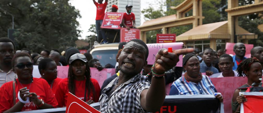 An anti-corruption protest in Nairobi, Kenya.