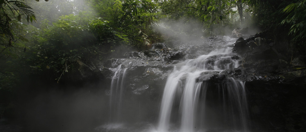 A view of a waterfall in the protected forest at the Welirang mountain in Malang, East Java province, February 10, 2010. Indonesia's Forestry Minister Zulkifli Hasan on Wednesday said he had revoked the land use permits for 23 mining and other firms operating in forested areas and may crack down further, indicating a tougher stance on environmental protection. Indonesia is under international pressure to do more to save its huge tracts of tropical forest, which act as carbon sinks and help reduce the amount of greenhouse gas emissions that cause global warming. To match INTERVIEW INDONESIA-FOREST/   REUTERS/Sigit Pamungkas   (INDONESIA - Tags: ENVIRONMENT POLITICS DISASTER SOCIETY IMAGES OF THE DAY) - GM1E62A1O5T01