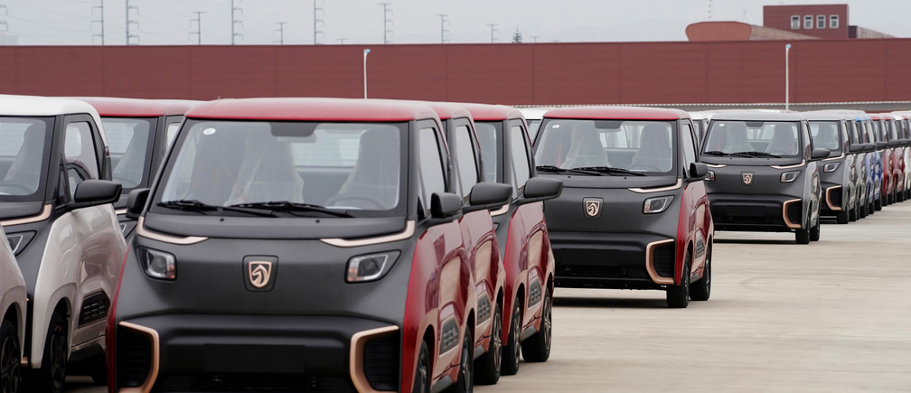 Baojun E100 and E200 all-electric battery cars sit parked at a parking lot operated by General Motors Co and its local joint-venture partners in Liuzhou, Guangxi Zhuang Autonomous Region, China, February 28, 2019. Picture taken February 28, 2019. REUTERS/Aly Song - RC15B7D5C580