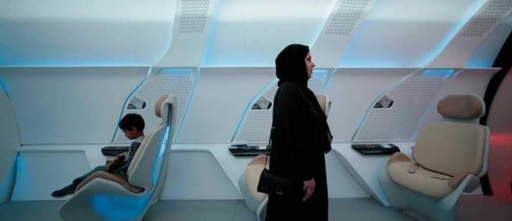 Roads and Transport Authority (RTA) unveiled the design model of the hyperloop in Dubai, United Arab Emirates February 22, 2018. Hyperloop technology uses an electromagnetic propulsion system to accelerate the movement of goods and services through a vacuum tube. The system is designed to assist the levitation of the capsule slightly off the track within the tube and move it at speed up to 1200 km/hour. Accordingly, the hyperloop could travel between Dubai and Abu Dhabi in 12 minutes (about 90 minutes in a car), and lift about 10,000 passengers per hour in both directions. REUTERS/Christopher Pike