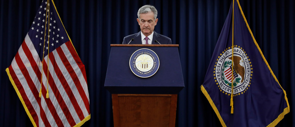 Federal Reserve Board Chairman Jerome Powell speaks at his news conference after the two-day meeting of the Federal Open Market Committee (FOMC) on interest rate policy in Washington, U.S., June 13, 2018. REUTERS/Yuri Gripas - RC17A39BAB20