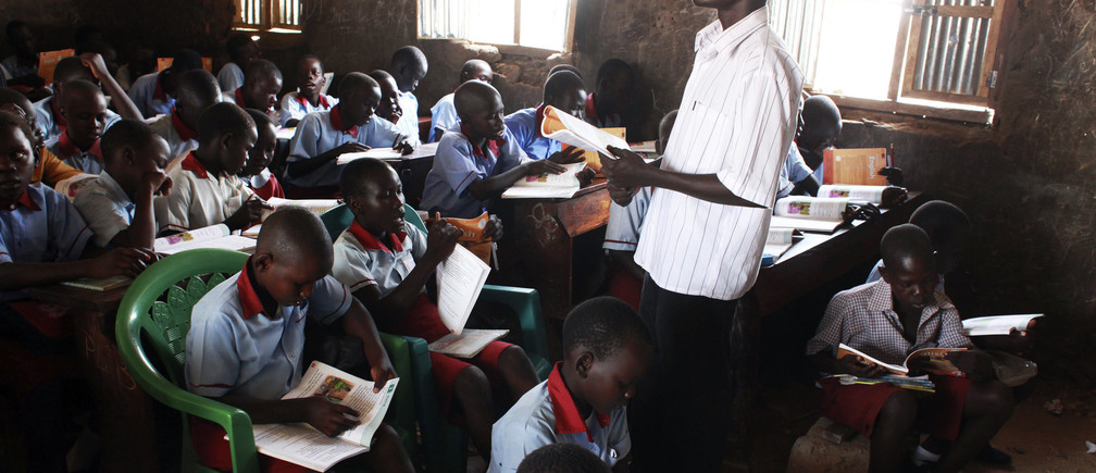A teacher takes an English lesson in South Sudan's capital Juba.