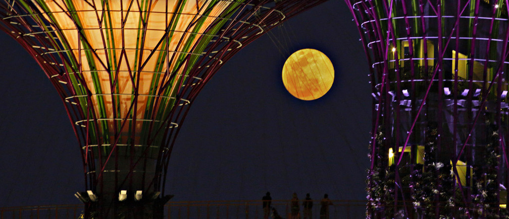 """Tourists look at the rising """"super moon"""" from the elevated skywalk of the Supertrees Grove at the Gardens by the Bay in Singapore June 23, 2013. The largest full moon of the year, called the """"super moon,"""" will light up the night sky this weekend. REUTERS/Tim Chong (SINGAPORE - Tags: ENVIRONMENT TRAVEL TPX IMAGES OF THE DAY SOCIETY) - GM1E96N1P2Q01"""