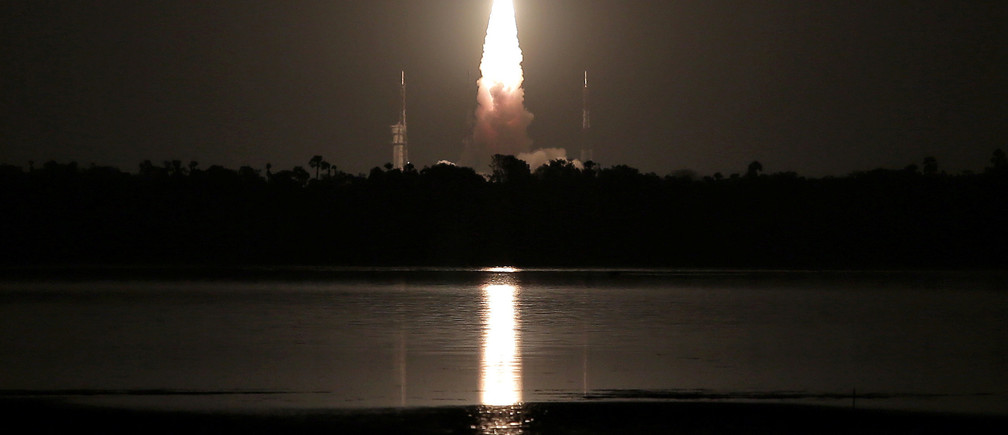 India's Polar Satellite Launch Vehicle (PSLV) C-39, carrying IRNSS-1H navigation satellite, lifts off from the Satish Dhawan Space Centre in Sriharikota, India, August 31, 2017. REUTERS/P. Ravikumar - RC1DD8B29E30