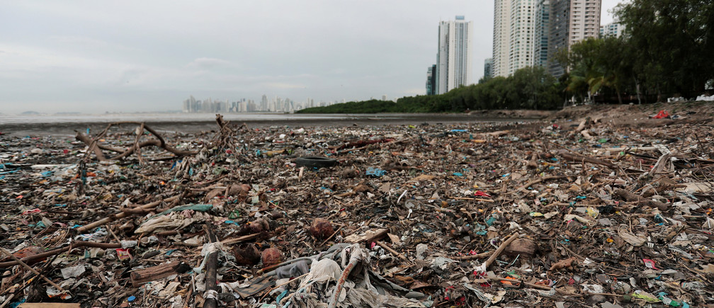 Plastic waste pile and debris are seen up near the beach in Panama City, as Panama becomes the first country in Central America to ban all single-use plastic bags, in Panama July 19, 2019. Picture taken July 19, 2019. REUTERS/ Erick Marciscano - RC1451A80B10