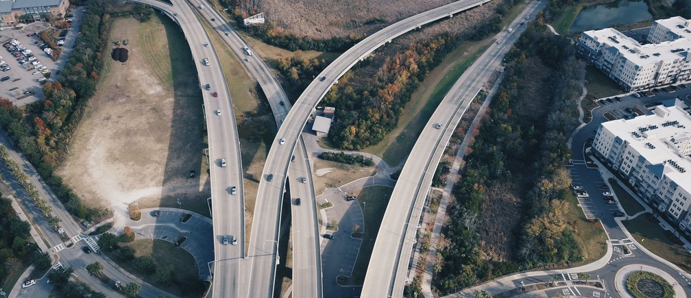 Cars travel along a highway in Mount Pleasant, United States