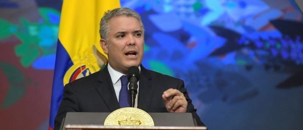 Colombia's President Ivan Duque gives a speech during the swearing-in ceremony of a new Congress in Bogota, Colombia, July 20, 2019. Courtesy of Colombian Presidency/Handout via REUTERS ATTENTION EDITORS - THIS IMAGE WAS PROVIDED BY A THIRD PARTY - RC1C8A6C4A70