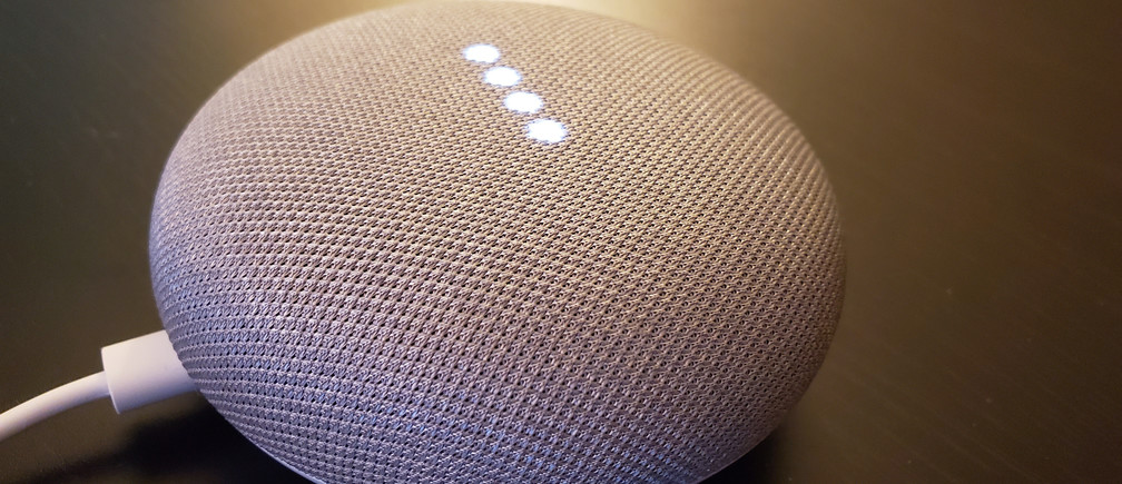 Google Home smart speakers, which respond to consumer's voice commands to control devices in the home or to answer questions out loud about topics including the weather, news or local services, in shown in San Francisco, California, U.S., March 28, 2019.