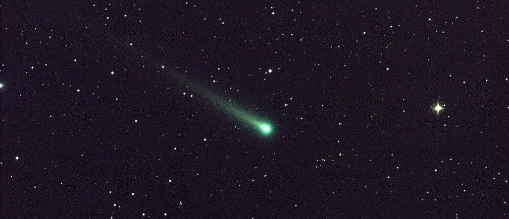"Comet ISON is seen in this five-minute exposure taken at NASA's Marshall Space Flight Center (MSFC) on November 8 at 5:40 a.m. EST (1040 GMT), courtesy of NASA. The image has a field of view of roughly 1.5 degrees by 1 degree and was captured using a colour charge-coupled device (CCD) camera attached to a 14"" (36 cm) telescope located at Marshall. At the time of this picture, Comet ISON was 97 million miles (156 million km) from Earth, heading toward a close encounter with the sun on November 28. Located in the constellation of Virgo, it is now visible in a good pair of binoculars."