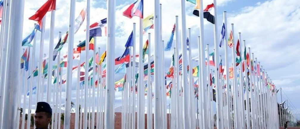 Flags from different countries are displayed at the World Climate Change Conference 2016 (COP22) in Marrakech, Morocco, November 6, 2016. REUTERS/Youssef Boudlal - S1AEULHJOCAA