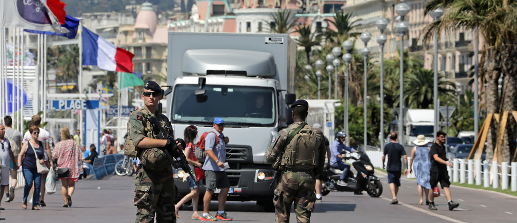 French soldiers patrol the promenade in Nice, France, a year after the fatal July 14 truck attack