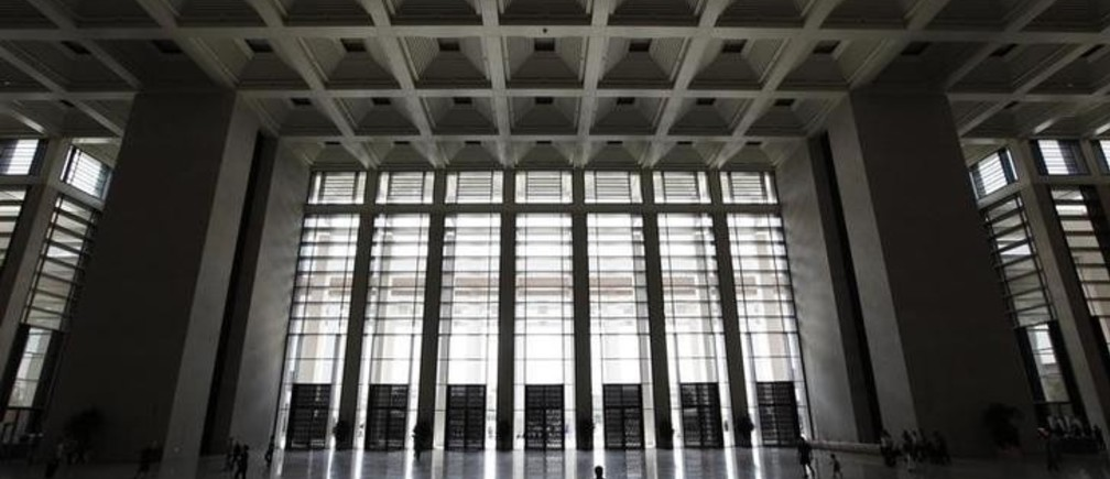 A visitor walks in the hall of the new National Museum of China, which was opened to the public in March after three years of renovation and extension work, in Beijing May 31, 2011. REUTERS/Jason Lee (CHINA - Tags: SOCIETY)
