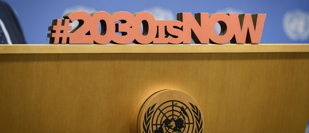 Detail on the podium during the press briefing on the 2030 Agenda and implementing the Sustainable Development Goals (SDGs). (24 September 2019)