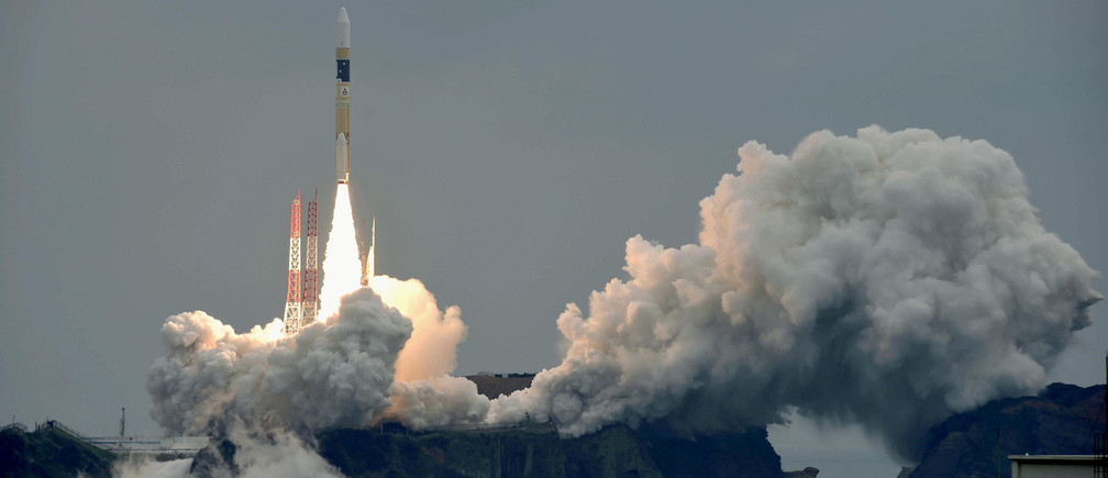 A H-IIA rocket, carrying a Michibiki 2 satellite, one of four satellites that will augment regional navigational systems, lifts off from the launching pad at Tanegashima Space Center on the southwestern island of Tanegashima, Japan, in this photo taken by Kyodo June 1, 2017.  Mandatory credit Kyodo/via REUTERS   ATTENTION EDITORS - THIS IMAGE WAS PROVIDED BY A THIRD PARTY. EDITORIAL USE ONLY. MANDATORY CREDIT. JAPAN OUT. NO COMMERCIAL OR EDITORIAL SALES IN JAPAN.     TPX IMAGES OF THE DAY - RTX38GQZ