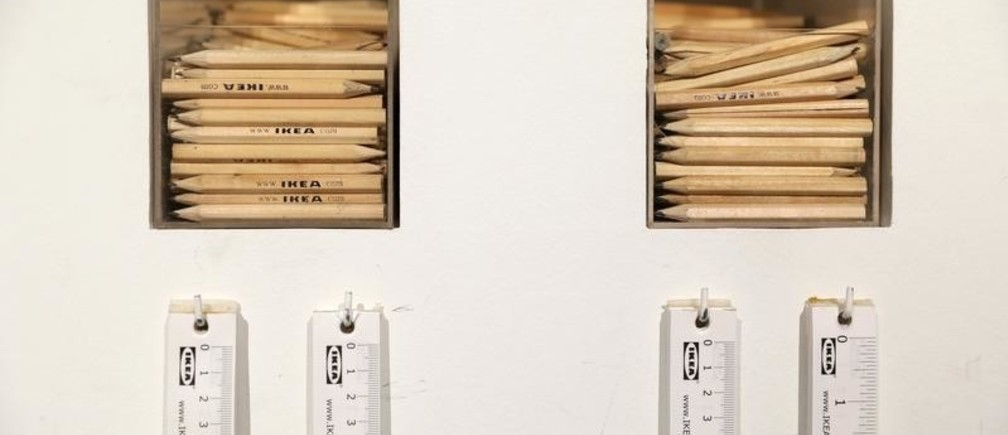 IKEA pencils and tape measures are displayed at an IKEA store in Madrid, Spain, October 10, 2018. REUTERS/Susana Vera - RC1FFDCE43C0