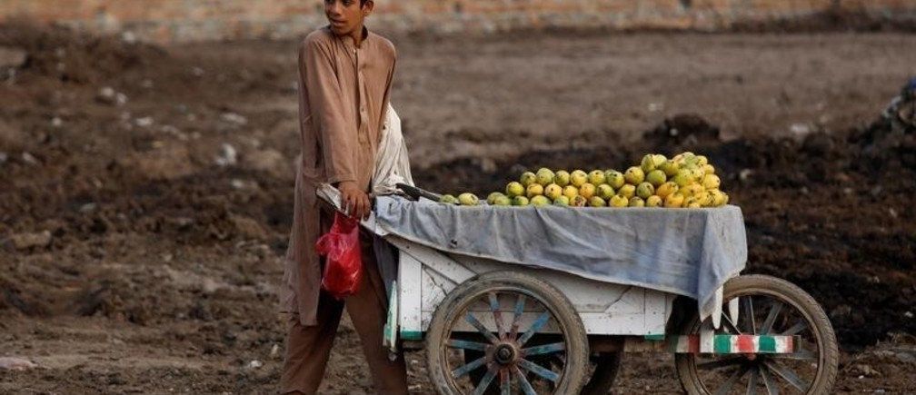 A boy pushes a cart as he is selling mangoes along a street in Peshawar, Pakistan July 19, 2019. REUTERS/Fayaz Aziz - RC1713CCCDA0
