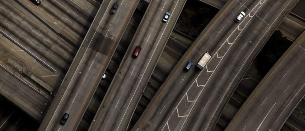 The 10/110 freeway interchange is seen in Los Angeles, California July 16, 2011.