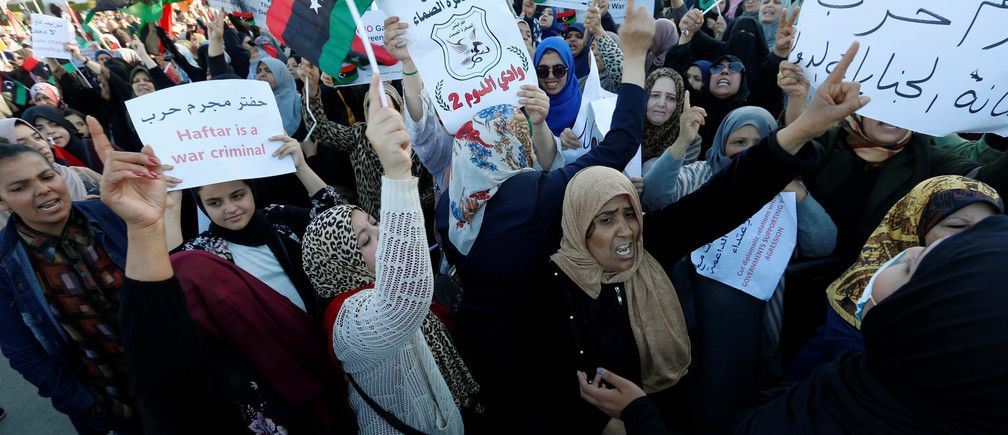 Libyan protesters attend a demonstration to demand an end to the Khalifa Haftar's offensive against Tripoli, in Martyrs Square in central Tripoli, Libya April 12, 2019. REUTERSIsmail Zitouny - RC143602C7B0