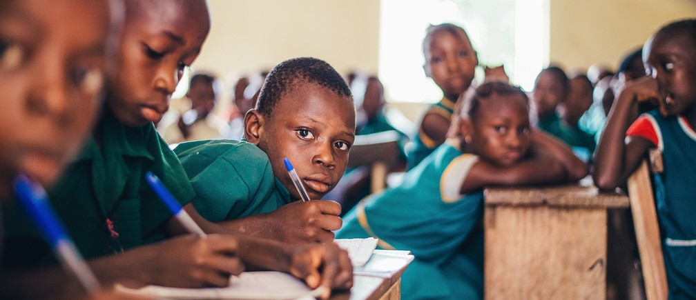 School children in Sierra Leone, following the Ebola outbreak, supported by World Vision