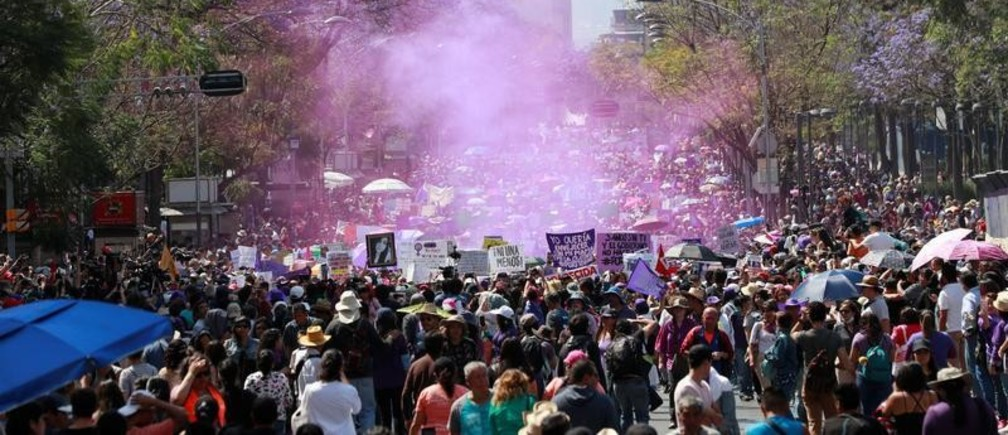 People march as they mark International Women's Day in Mexico City, Mexico, March 8, 2020. REUTERS/Henry Romero - RC20GF9H1UXL