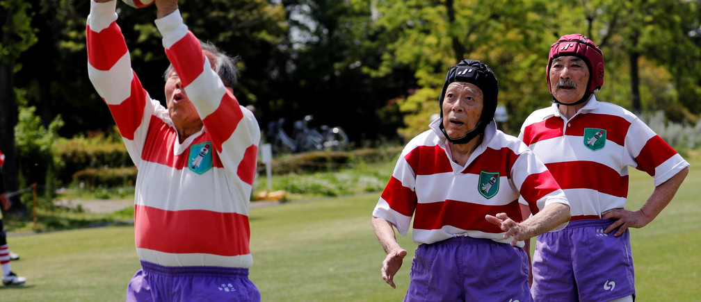 "Ryuichi Nagayama (C), 86, Fuwaku Rugby Club's oldest active player, practices before a match in Kumagaya, Saitama Prefecture, Japan, May 3, 2019. ""You tackle and battle each other, but the gathering after the play is so enjoyable and fun,"" said Nagayama. ""We talk about how each other plays and no one gets angry about how we played. The atmosphere is great... In short, there is nothing but rugby (for me)."" REUTERS/Kim Kyung-Hoon    SEARCH ""RUGBY VETERANS"" FOR THIS STORY. SEARCH ""WIDER IMAGE"" FOR ALL STORIES. TPX IMAGES OF THE DAY - RC118B8793E0"