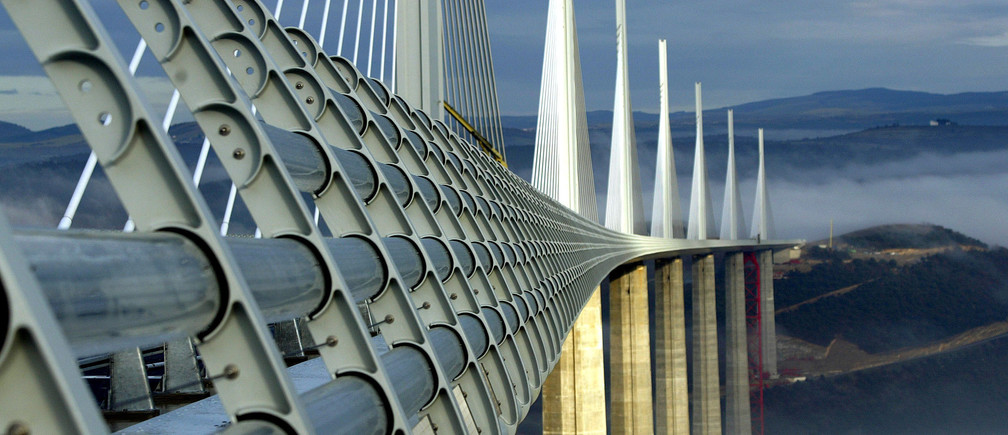 The Millau Viaduct, designed by the English architect Lord Norman Foster, crosses the valley of the river Tarn in Millau, December 9, 2004.