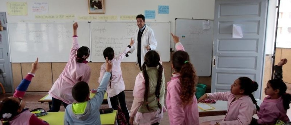 School children listen to a teacher as they study during a class in the Oudaya primary school in Rabat, Morocco January 31, 2019. Picture taken January 31, 2019. REUTERS/Youssef Boudlal - RC1D1246DC00