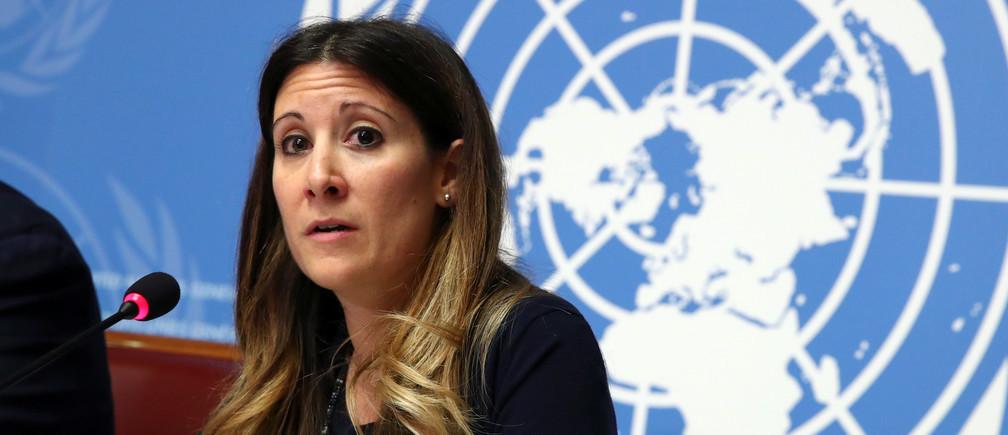 Maria Van Kerkhove, Jefa a.i. de Enfermedades Emergentes y Zoonosis de la Organización Mundial de la Salud (OMS), habla durante una conferencia de prensa sobre la situación del coronavirus en las Naciones Unidas en Ginebra (Suiza), el 29 de enero de 2020.