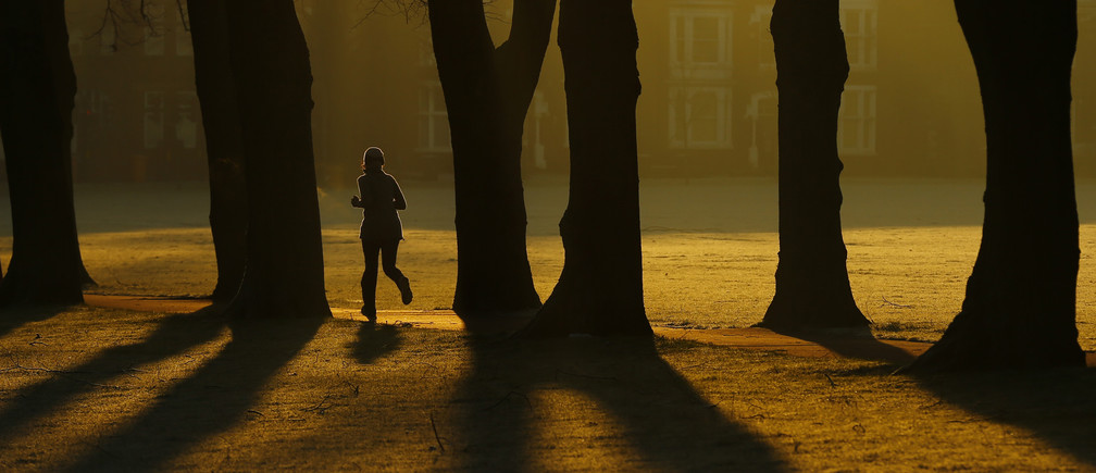 A woman runs through Victoria Park at sunrise in Leicester, central England, December 30, 2014.  REUTERS/Darren Staples   (BRITAIN - Tags: ENVIRONMENT SOCIETY TPX IMAGES OF THE DAY) - LM1EACU0QWJ01