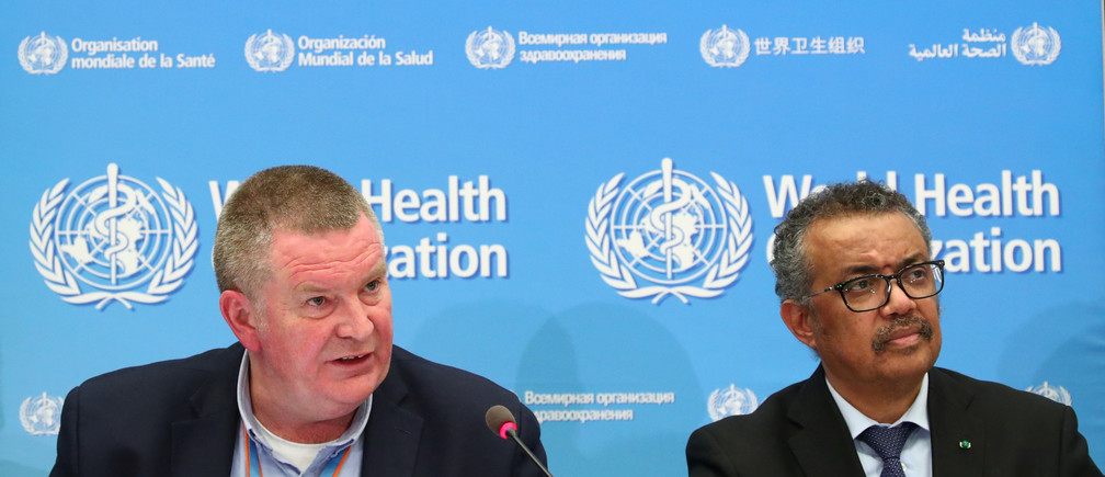 Michael J. Ryan, Executive Director of the WHO Health Emergencies Programme and Director-General of the WHO Tedros Adhanom Ghebreyesus, attend a news conference on the coronavirus (COVID-2019) in Geneva, Switzerland February 24, 2020. REUTERS/Denis Balibouse - RC237F9WRS8Q