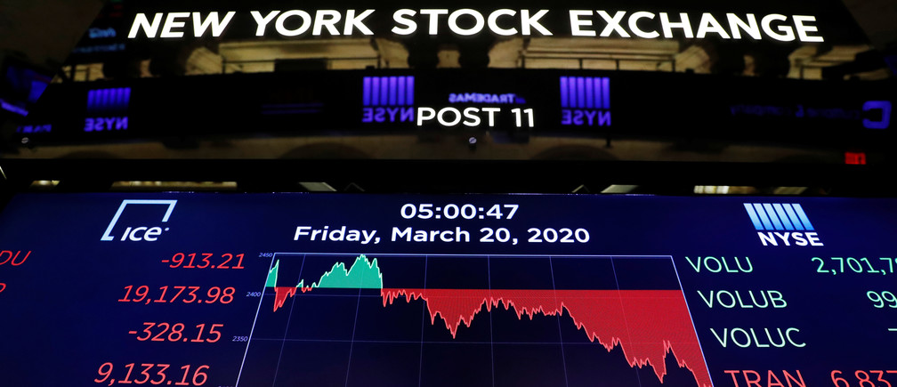 The final numbers of the day are displayed above the floor of the New York Stock Exchange (NYSE) stands empty as the building prepares to close indefinitely due to the coronavirus disease (COVID-19) outbreak in New York, U.S., March 20, 2020.  REUTERS/Lucas Jackson - RC2XNF9I542M