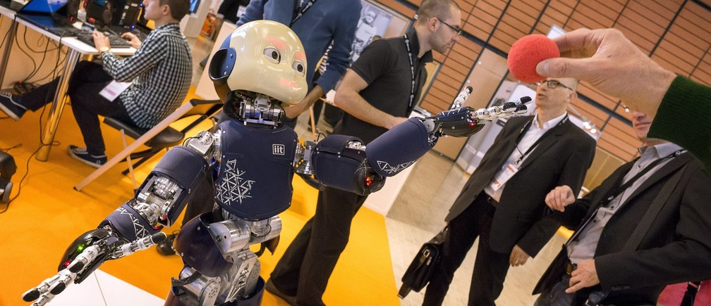 A humanoid robot from IIT is displayed during the Innorobo 2014 fair (Innovation Robotics Summit) in Lyon March 18, 2014.