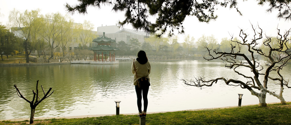 A woman stands at the shore of a lake in the park of the Diaoyutai State Guesthouse, the venue of the China Development Forum in Beijing, China, March 18, 2017.  REUTERS/Thomas Peter - RTX31KRS
