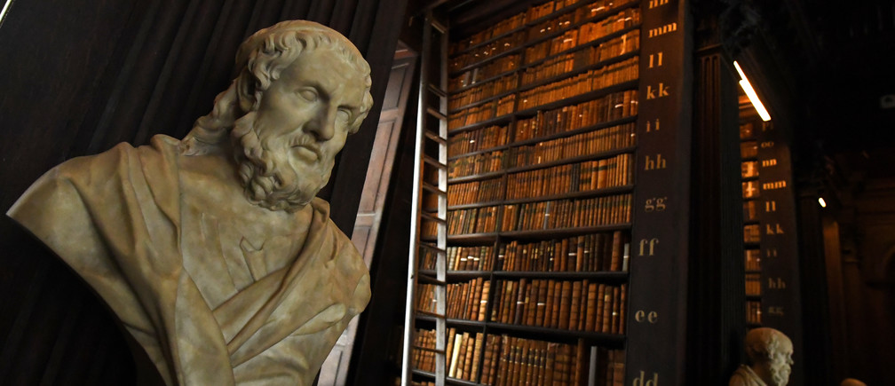 A bust of Plato is seen in the Long Room of the old library that houses 200,000 of Trinity College's oldest books in Dublin, Ireland, September 14, 2018. REUTERS/Clodagh Kilcoyne - RC16936CDB40