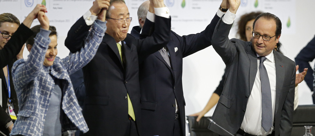 Christiana Figueres Ban Ki-moon and Francois Hollande at COP21 in Paris last year