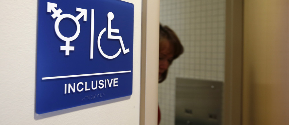 A gender-neutral bathroom is seen at the University of California, Irvine in Irvine, California September 30, 2014. The University of California will designate gender-neutral restrooms at its 10 campuses to accommodate transgender students, in a move that may be the first of its kind for a system of colleges in the United States.  REUTERS/Lucy Nicholson (UNITED STATES - Tags: EDUCATION SOCIETY POLITICS) - GM1EAA10JIV01