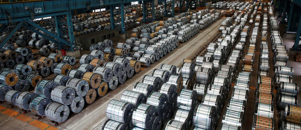 Rolls of steel stacked inside the China Steel Corporation, Taiwan.