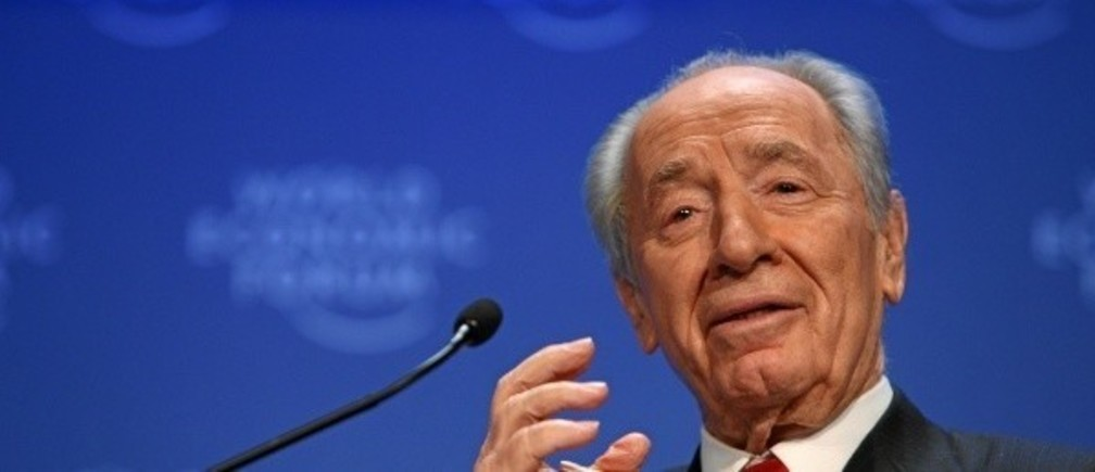 Shimon Peres, President of Israel, speaks during the session 'The Values behind Market Capitalism' at the Annual Meeting 2009 of the World Economic Forum in Davos, Switzerland, January 29, 2009.