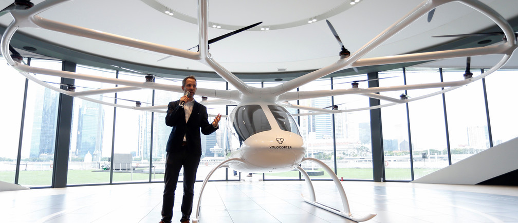 Florian Reuter, CEO of German startup Volocopter, speaks to the media in Singapore, October 22, 2019.