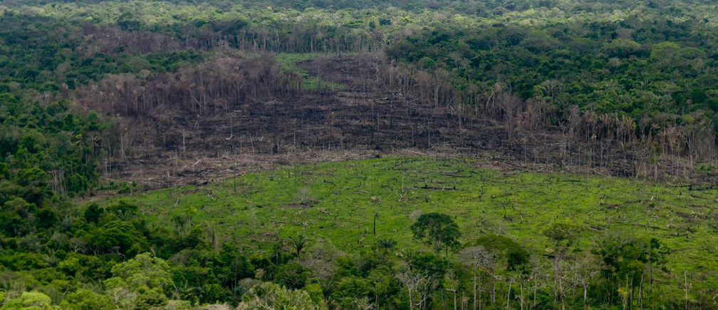 A wooded area with deforestation is seen in the Serrania del Chiribiquete, Colombia April 28, 2019. Courtesy of Colombian Presidency/Handout via REUTERS ATTENTION EDITORS - THIS IMAGE WAS PROVIDED BY A THIRD PARTY - RC17A2625010