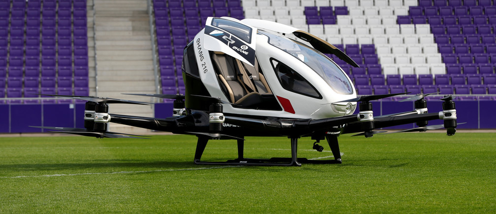 An Ehang 216, a two-seater autonomous aerial vehicle of drone maker EHang, is seen during its presentation in Vienna, Austria April 4, 2019.   REUTERS/Leonhard Foeger - RC1E2BBD4760
