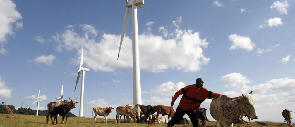 A Masaai herdsman looks after his cattle near the power-generating wind turbines at the Kenya Electricity Generating Company (KenGen) station in Ngong hills, 22 km (13.7 miles) southwest of Kenya's capital Nairobi, July 17, 2009. Kenya plans to add 2,000 megawatts of more environmentally-friendly energy by 2013 by investing $7-$8 billion, a KenGen official said on Friday. KenGen is setting up some wind turbines and a private company is planning a 300 MW wind farm in Kenya's northeastern region by 2012. To match INTERVIEW KENYA-ENERGY/ REUTERS/Thomas Mukoya (KENYA ENVIRONMENT ENERGY BUSINESS) - GM1E57I00P501