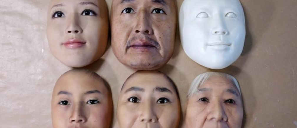 Super-realistic face masks are displayed at factory of REAL-f Co. in Otsu, western Japan, November 15, 2018.  REUTERS/Kwiyeon Ha - RC17812FE5E0