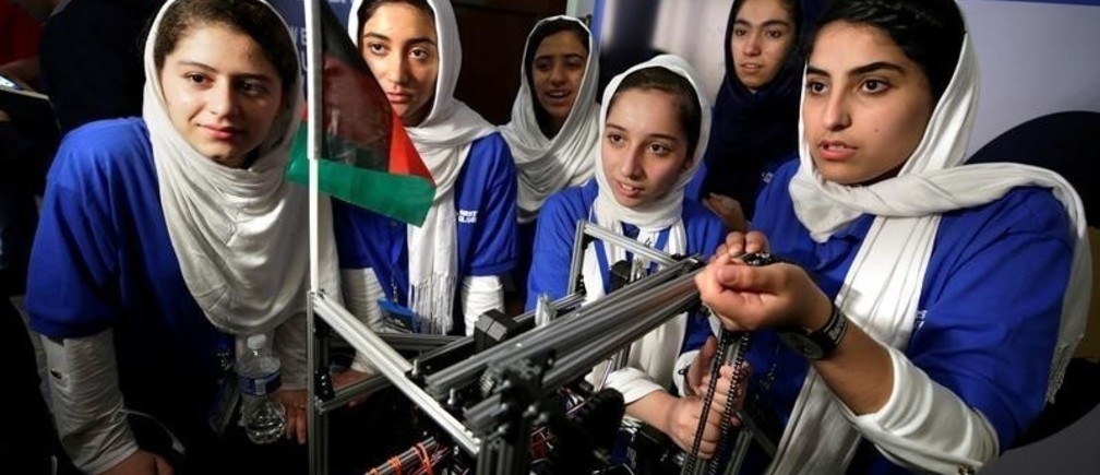 All-girl team from Afghanistan prepares to compete in first international robot Olympics as they were originally denied entry into the U.S. but participate after President Donald Trump intervened, in Washington, U.S., July 17, 2017.