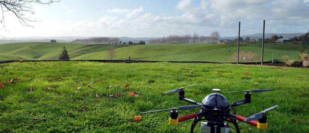 An Aeronavics drone sits in a paddock near the town of Raglan, New Zealand, July 6, 2015.